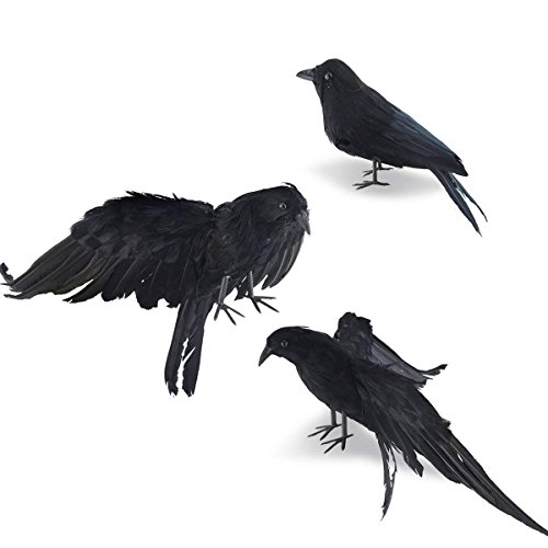 Takefuns Halloween Realistic Handmade Crow Prop 3 Pack Black Feathered Crow Fly and Stand Crows Ravens for Outdoors and Indoors Crow Decoration by Takefuns