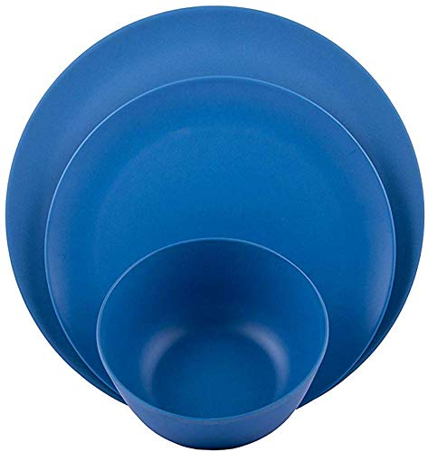 Melange 12-Piece Bamboo Dinnerware Set (Rounds Collection) | Shatter-Proof and Chip-Resistant Bamboo Plates and Bowls | Color: Blue | Dinner Plate, Salad Plate & Soup Bowl (4 Each) -