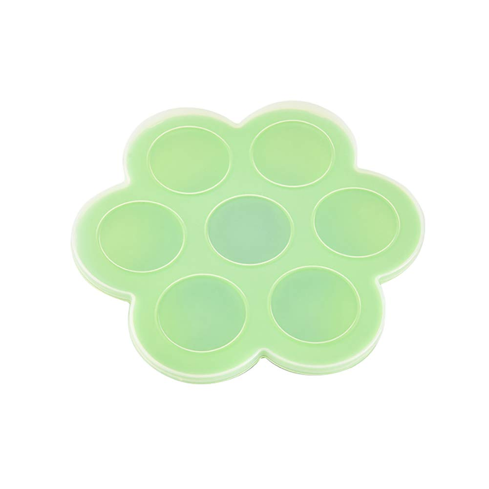Braceus 7-Slot Silicone Reusable Ice Cube Mold Storage Box Container Food Freezer Tray Green