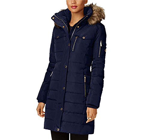 Michael Kors Faux Fur Trim Down Puffer Coat-Navy-XL ()