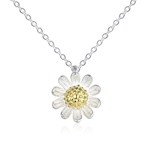 Kalapure 18K Gold Plated 925 Sterling Silver Daisy Sunflower Pendant Necklace For Girls Mom Gifts