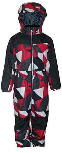Pulse Little Boys and Toddler 1 Piece Snowsuit Coveralls (Small, Red Maze)