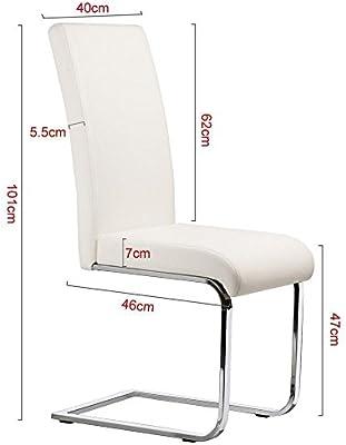 Yaheetech 2 Piezas Sillas de Comedor Sillas de Oficina Conferencia Altura 47cm MAX Carga 135kg Blanco