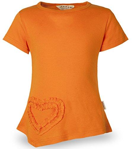 (Ipuang Little Girls Heart Shaped Casual Cotton Cap Sleeve Tee T Shirt Top Orange 5)