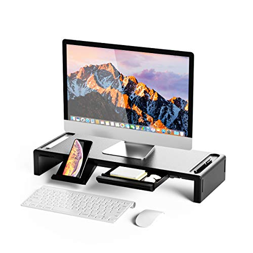 OImatser Monitor Stand Riser, Computer Monitor Riser Adjustable Height and Storage Drawer & Pen Slot, Phone Stand for Computer, Desktop, Laptop, Save Space
