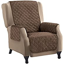 Reversible Quilted Furniture Protector Cover, Chocolate/Tan, Recliner