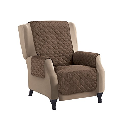 Collections Etc Reversible Quilted Furniture Protector Cover, Chocolate/Tan, Recliner