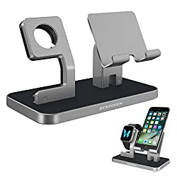 Apple Watch Stand, Cell Phone Stand, iPhone 6 7 8 X Stand, BENTOBEN NightStand Mode iWatch Stand iPhone Dock iPad Mini Charging Station for iWatch Series 3 Series 2 Series 1 38mm 42mm - Space Gray