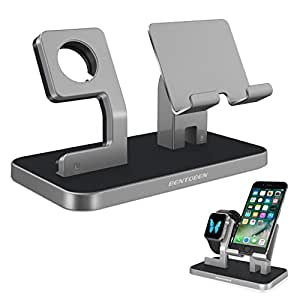 Apple Watch Stand, Cell Phone Stand, iPhone 6 7 8 Stand, BENTOBEN NightStand Mode Apple Watch Stand With iPhone Dock iPad Charging Station for iWatch Series 3 Series 2 Series 1 38mm 42mm - White/ Gray