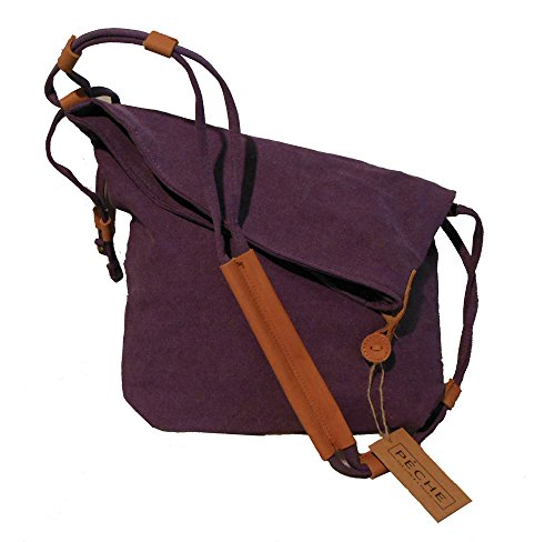 Peche Vintage Canvas and Genuine Leather Crossbody Hand Bag (Violet)