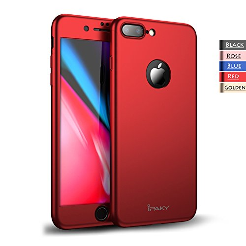 iPhone 8 Plus Case - Rebex & iPaky 360 All-around Protective Cover Thin Slim Fit [Non-Slip] Dual Layer Hard Case With Tempered Glass Screen Protector For iPhone 8 Plus (Red)