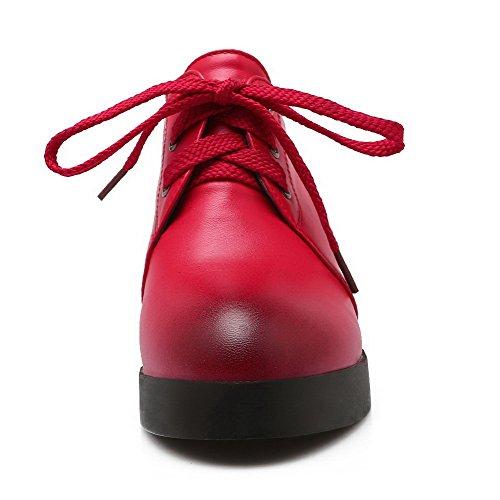 AllhqFashion Damen Schnüren Hoher Absatz PU Leder Rein Rund Zehe Pumps Schuhe Rot