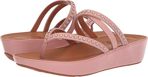FitFlop Women's LINNY Criss Cross Toe-Thong Sandals-Crystal, Dusky Pink 9 M US
