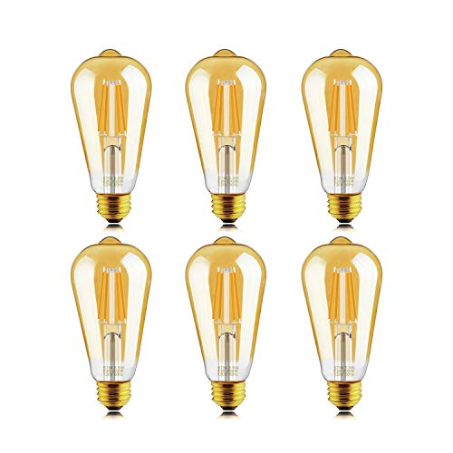 Helloify Light Dimmable Edison, Vintage Antique Style ST19(ST64) LED Filament Bulbs, 60W Incandescent Equivalent, 2500K(Amber Glass) Warm White, E26 Medium Screw Base, 6 Count