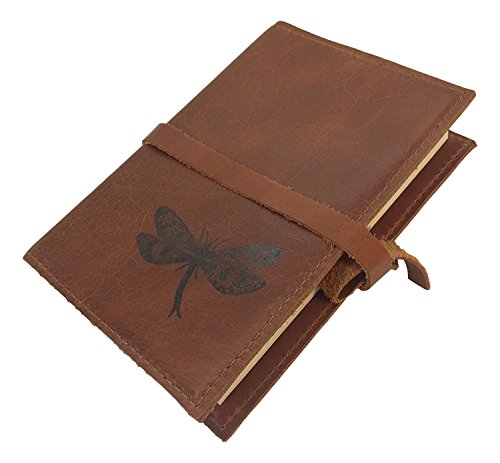 Handmade Leather Journal Dragonfly Design