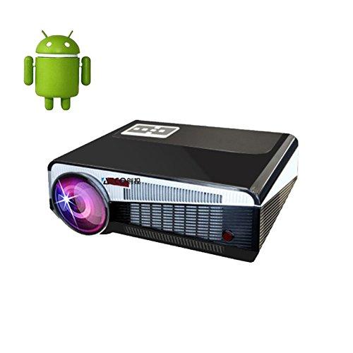 Androidスマートプロジェクター最大投影200インチ画面フルHD新LCD LED 3000ルーメン1280x800赤と青の3D Android WIFIホームシアタービーマーLEDプロジェクター B0777BJ714