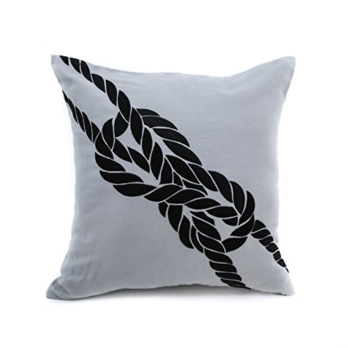 Sailing Rope Pillow Cover, Decorative Pillow Cover, Gray Linen Black Rope, Couch Pillow, Nautical Cushion, Coastal Pillow, Cottage Decor (18 inch x 18 inch) (Couch Rope)