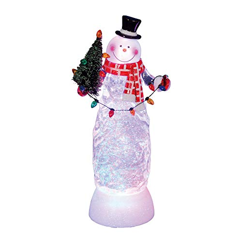 """Northlight 11"""" Swirling Glitter LED Lighted Snowman with Tree Table Top Christmas Decoration"""