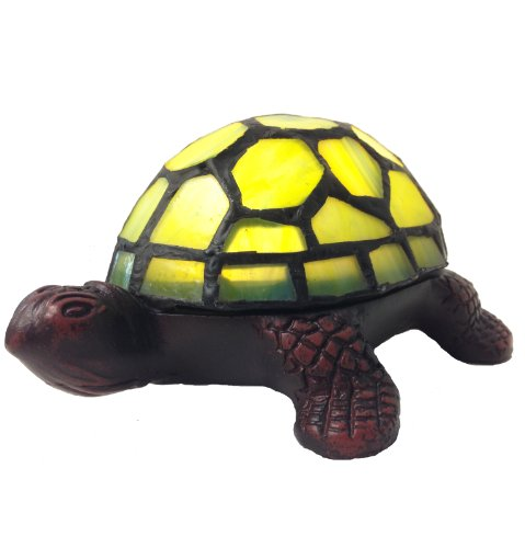 River of Goods 12809S 2.5-Inch LED Battery Operated Stained Glass Turtle Accent Lamp, (Novelty Lights Accent Lamps)