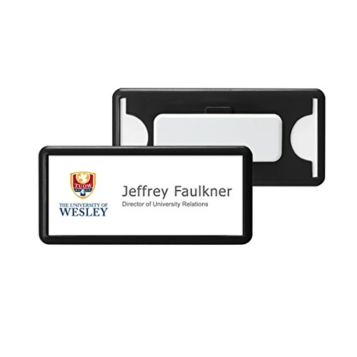 acrylichk.com | SB-18-CM-BK Reusable Window Name Badge Tag (BULK PURCHASE 12PCS SPECIAL OFFER) with Magnet / Window Size 75x30mm / Color: Black