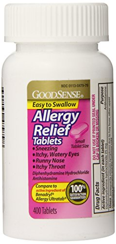 GoodSense Allergy Relief, Diphenhydramine HCL Antihistamine, 25 mg, 400 Count