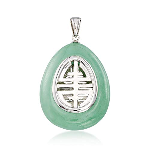 (Ross-Simons Green Jade Teardrop Pendant Necklace in Sterling)