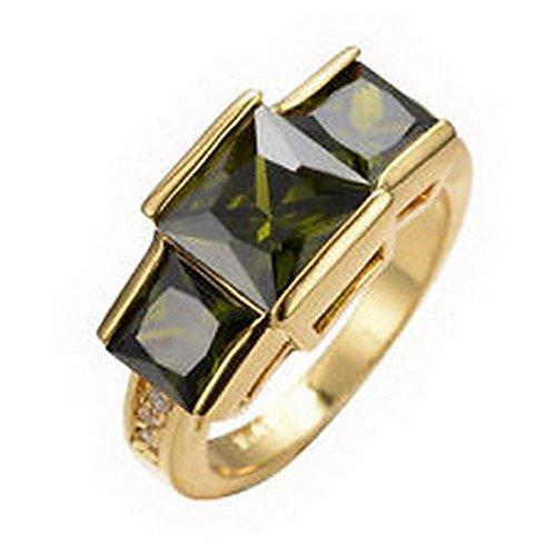 - jacob alex ring Jewelry Fashion Wedding Ring Size6 Peridot Womens 10K Yellow Gold Filled