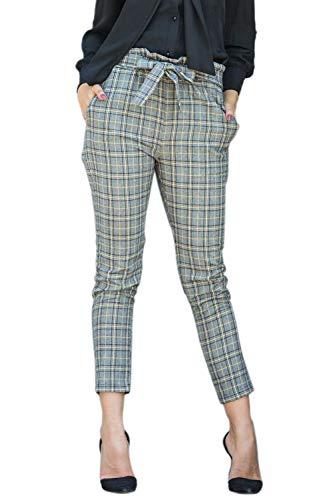 Giallo Nimpansa Con Donne Molto Le Affusolato I Pantaloni Alta Cintura Casaul Pantaloni Vita xHx7w5q