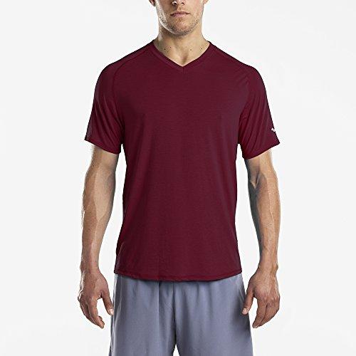 Saucony Men's Freedom V-Neck Short Sleeve Shirt, Zinfandel, Medium