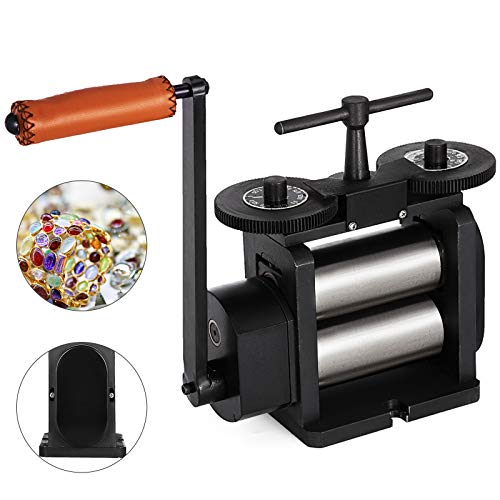 Mophorn Jewelry Rolling Mill Flat Rolling Mill 110mm Wide 55mm Diameter Rollers Manual Rolling Mill Machine Jewelry Marking Tools Designed for Jewelers and ()