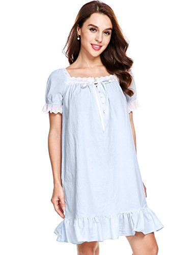 Avidlove Womens Cotton Victorian Vintage Short Sleeve Martha Nightgown Sleepwear, Light Blue, Large