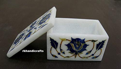 rkhandicrafts White Marble Inlay Work with Lapis Lazuli Floral Pattern Jewelry Box Multi Use Box Gift for Her 3 x 2 Inches