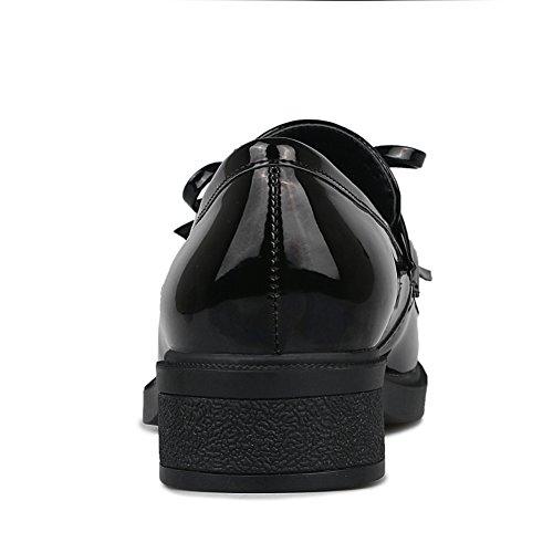 Zapatos Mujer Primavera/Redonda borlas grueso se inclinan los zapatos/viento es salvaje zapatos ocasionales de Inglaterra A