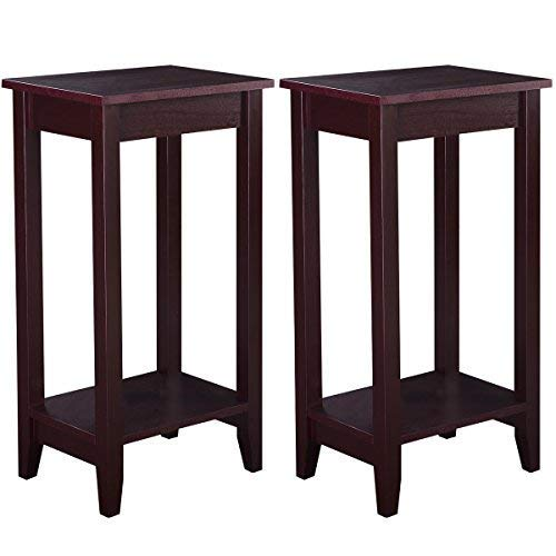 Giantex Tall Side End Table W/Shelf Telephone Table Coffee Bedside Sofa Table for Living Room, Nightstand (2)