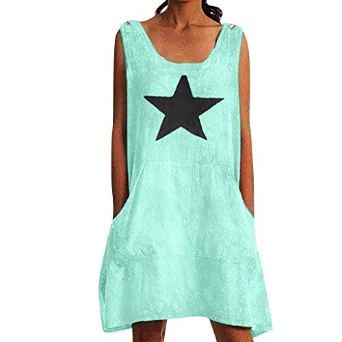Onefa Summer Women's Fashion Leisure Printing Sexy Sleeveless Dresses Simple Star Design Suitable for Indoor Outdoor Wear in Spring Summer (XL, Green)