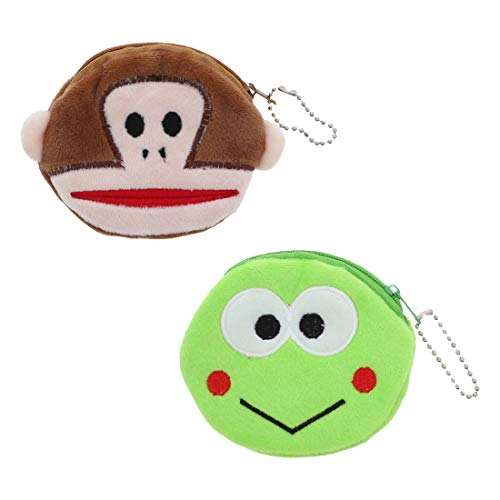 Small Animal Coin Purse Plush Wallet - Set of 2 - Monkey Frog