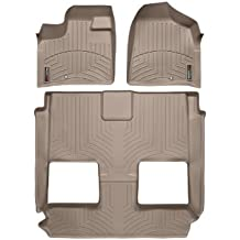 2011-2015 Chrysler Town & Country Tan WeatherTech Floor Liner (Full Set-1st Row, One Piece-2nd & 3rd Row) [Bucket Seating Stow'n Go][With passenger-side floor retention device and super console]