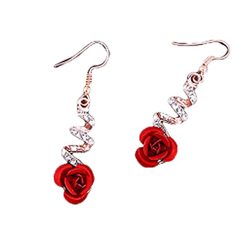 (MIXIA Vintage Red 3D Rose Drop Earrings for Women Statement Dangle Earrings with Crystal Rhinestone (Screw))