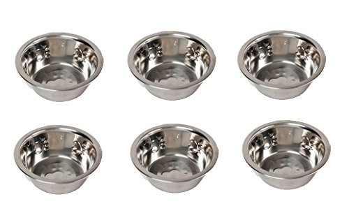 Set of 6 Paw Print Design 32oz Metal Dog Bowls for Food and Water