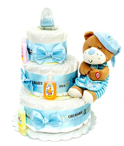 Diaper Cake, Baby Shower Décor, Useful Gift for New Parents-to-Be, Cute Party Centerpiece for Boy, Girl (Pink)