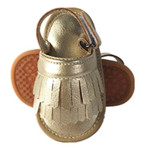E-Papaya Baby Boys Girls Soft Sole Anti-Slip Tassel Moccasins PU Leather Summer Sandals (18-24 Months, Golden)