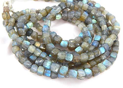 GemAbyss Beads Gemstone Blue Flash Labradorite Gemstone Faceted Beads/Labradorite 3D Cube Beads Box Shape Size 8x7.5.mm 9.5 Inch Long Inches Strand. - Inch Strand 9.5