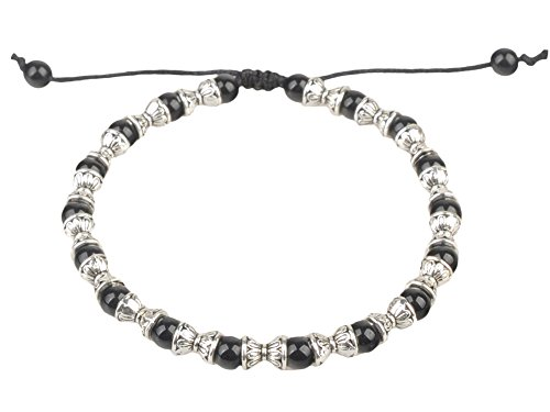 Ancient Tribe Handmade Adjustable Beads Beaded Anklet,Black (3)