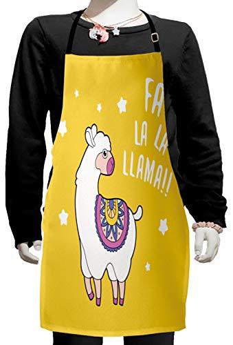 Lunarable Llama Kids Apron, Latin America Farm Animal Cartoon with FA La La Llama Words Ornamental Nursery Design, Boys Girls Apron Bib with Adjustable Ties for Baking Painting, Kids Size, Yellow