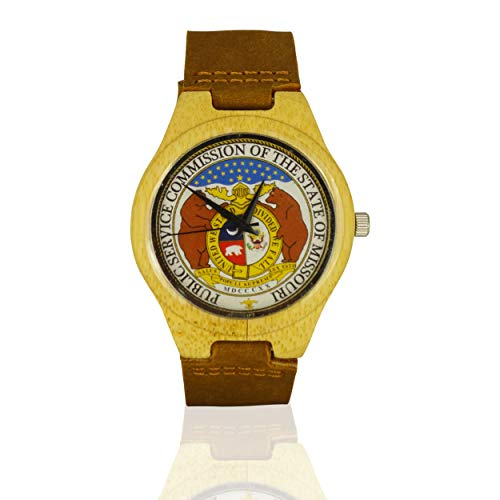 Handmade Wooden Watch Made with Natural Bamboo with State of Missouri Seal