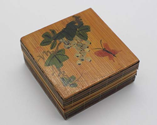 Small Square Oriental Bamboo Box with Lid Signed in Red