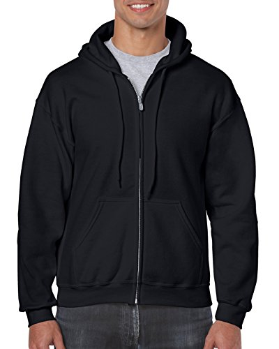 Gildan Men's Fleece Zip Hooded Sweatshirt Extended Sizes Black XX-Large (Adult Black Zip Hoodie)