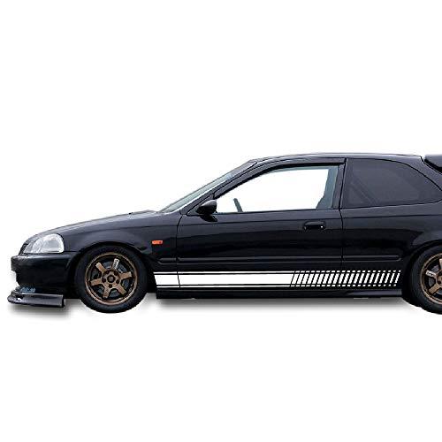 Bubbles Designs 2X Lower Side Stripes Decal Sticker Vinyl Kit Compatible with Honda Civic EK9 Type R Motor Sports