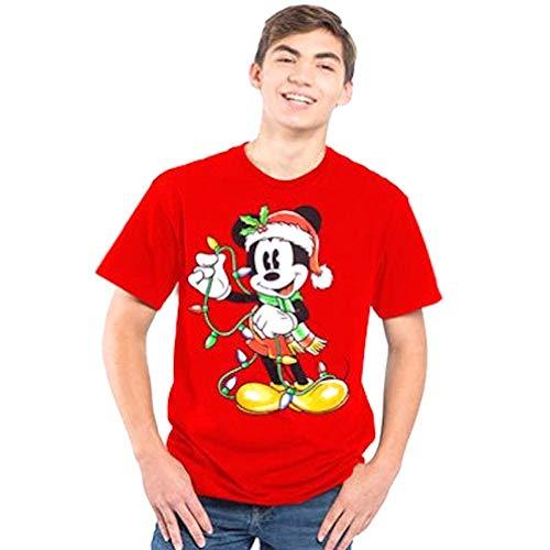 Disney Mickey Mouse Santa Hat Holiday Lights Christmas Shirt Mens Adult Red