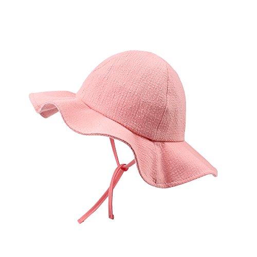 XIAOHAWANG Baby Girls Hats Kids Sun Caps Toddlers Bonnet Cotton Bucket Hat with Wide Brim Princess Cap (Pink)